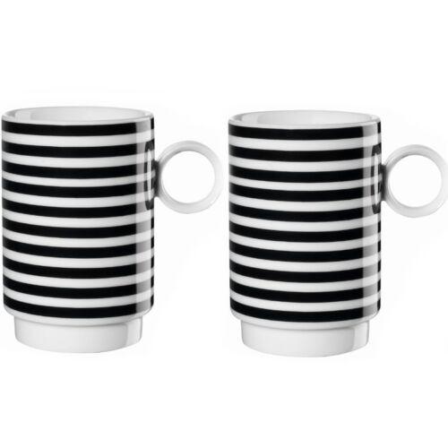 ASA Henkelbecher 2er Set horizontal New Memphis schwarz weiß Kaffeetasse Tasse