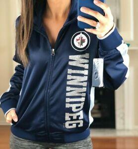 Winnipeg-Jets-Performance-Full-Zip-Metallic-Print-Track-Jacket-Women-039-s-M-NHL