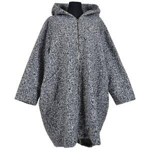 Wollemantel Mantel Boucle Wolle Lagenlook Kapuze Hellgrau 50 52 54 56 58 60 XXL