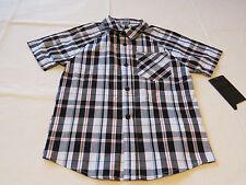Boy's kids youth Hurley 6 881859 249 black white plaid button up shirt boys NWT
