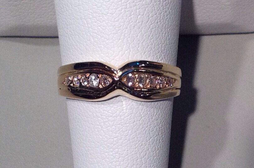 CHANNEL SET 10-DIAMOND WEDDING OR ANNIVERSARY  RING  14K YELLOW  Sz.8 - EX-FINE