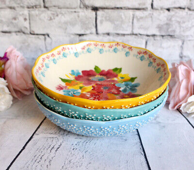 7.5-Inch Pasta Bowls The Pioneer Woman Melody Multi Coloured Stoneware Set of 4