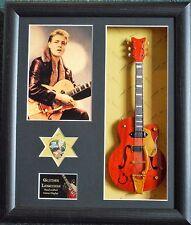 Eddie Cochran Framed Miniature Tribute Guitar with Plectrum Rockabilly/RnR