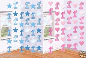 Premier 1ST anniversaire garçon fille bleu rose suspendu parti cordes 1 aujourd'hui décorations