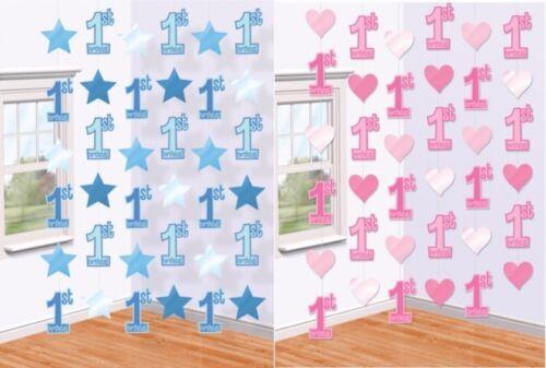 Premier 1ST anniversaire garçon fille bleu rose suspendu parti cordes 1 aujourd/'hui décorations