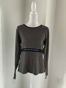 Sonia-Rykiel-Paris-Brown-amp-Black-Stripe-Cotton-Knit-Legende-Top-SZ-XL