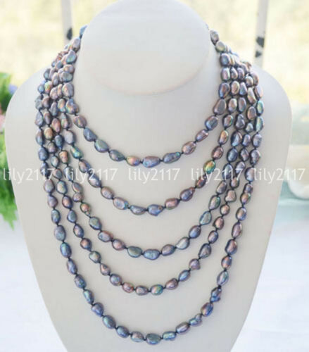 """7-8//8-9//9-10mm naturel paon noir baroque Freshwater Pearl Necklace 100/"""" AAA"""