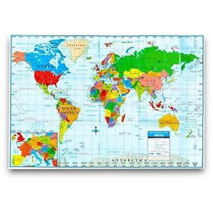 Quality paper world wall map poster 40 x 28 for home school office image is loading quality paper world wall map poster 40 034 gumiabroncs Gallery