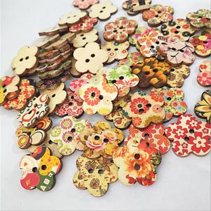 10-100 Stück Holzknöpfe Buttons 25 mm Nähen Kleidung Deko Basteln Blumen Bunt