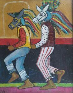 Signed Cesar Caracas El Güegüense Painting #1 Nicaraguan Artist Miami, Florida