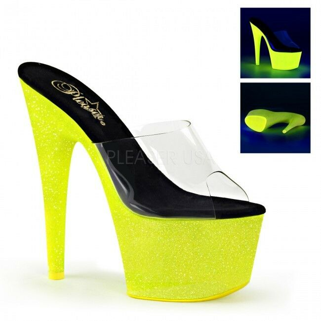 UK Größe 7 Pleaser Adore 701UVG Neon Yellow Glitter UV Platform Mules 7