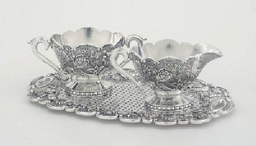 Antique Reproduction Engraved Silverplate Creamer /& Sugar Set