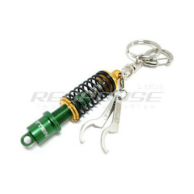 Genuine TEIN Damper Keychain with Wrench in Green//Black Key Holder