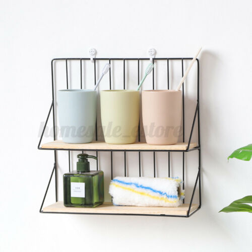 US Wall-mounted Storage Rack Hanging Organizer Sundries Iron Shelf Decor Home