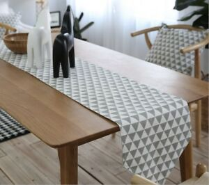 Scandinavian-Geometric-Grey-White-Triangle-Table-Runner-Placemats-Cushion-Cover