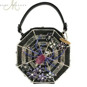 image is loading new mary frances charlotte spider web black leather - Halloween Handbag