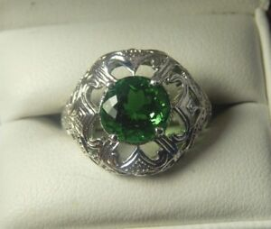 Details about 2 98ct Round Faceted Moldavite Filigree Ring Sterling Silver  Free Sizing