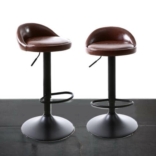2Pcs Bar Stools Leather Swivel Gas Lift Chair Kitchen Breakfast Pub High Chair
