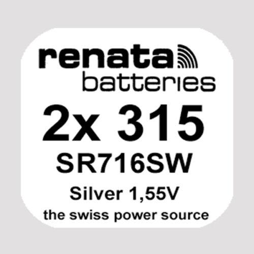 2x Renata 315 Uhren-Batterie Knopfzelle SR716SW 1,55V Silberoxid Neu