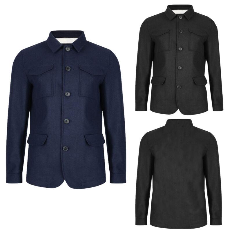 Logoro Da Uomo Ealing Giacca A Camicia Con Colletto Abbottonato Classiche Smart Cappotto Invernale