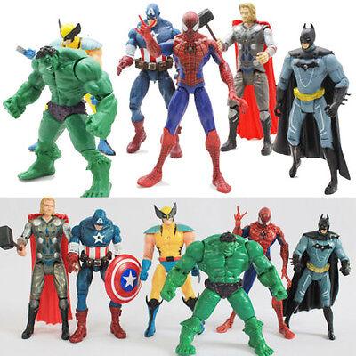 6X Marvel The Avengers Hulk+Captain+Wolverine+Batman+Spiderman Figure Collection