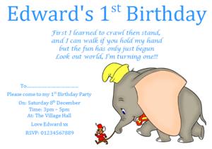 Image Is Loading Personalised Birthday Party Invites Invitations DISNEY DUMBO 1ST