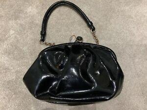 4454a8b03b Image is loading Lulu-Guinness-Black-Patent-Purse-Style-Bag