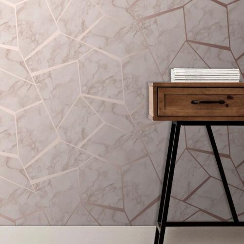 Fine Decor Marblesque Fractal Geometric Wallpaper Rose Gold FD42264