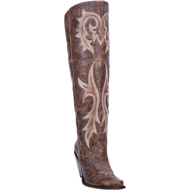 1afc71c60c9 NEW Ladies Dan Post Jilted Brown Leather Knee High Western Fashion Boots  DP3709