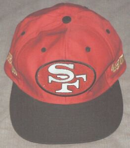 SAN-FRANCISCO-SF-49ers-Red-amp-Black-Embroidered-NFL-Team-Snapback-Cap-Hat-EUC