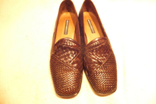 Sesto Woven Slip Brown 5m 7 Loafers Sz Leather Vintage Meucci On AdUq1w1