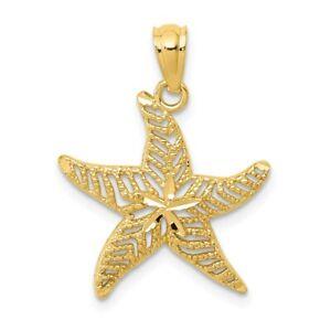 14K-Diamond-Cut-Polished-Filigree-Starfish-Pendant-New-Charm-Yellow-Gold