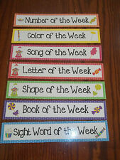 7 Candy themed Weekly Focus Learning Center Labels.  Classroom accessories.