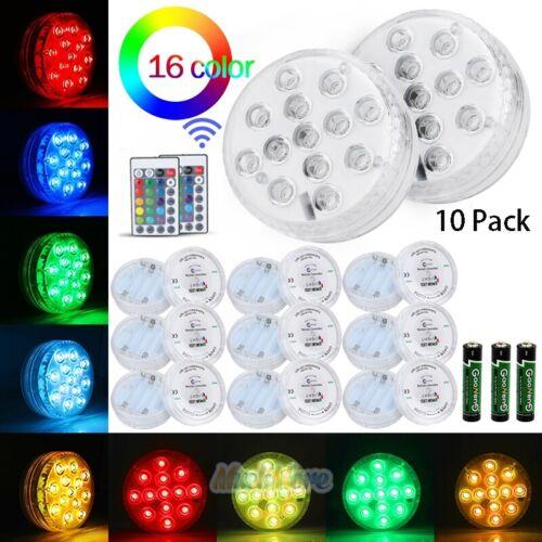 13 Luces Led Sumergibles Multi Color Impermeable Boda Fiesta Base De Jarrón luz y mando a distancia