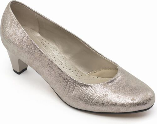 Padders JANE Ladies Womens Leather Extra Wide (2E) Court Shoes Metallic Reptile