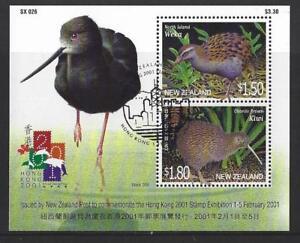 Nouvelle-Zelande-2001-Hong-Kong-2001-Bloc-feuillet-exposition-annuler-Fine-Used