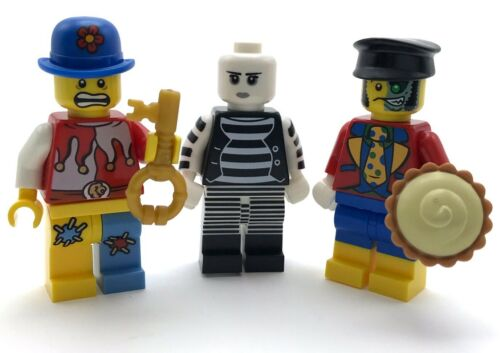 LEGO 3 NEW CIRCUS CLOWNS AND MIME CARNIVAL MINIFIGURES MEN WITH PIE