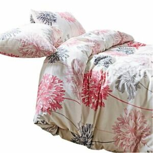 FLORAL-DANDELION-PINK-GREY-COTTON-BLEND-DOUBLE-DUVET-COVER