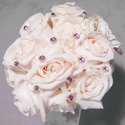 Set of 5 Color Accented Crystal Pave Button Wedding Bouquet Jewelry Picks