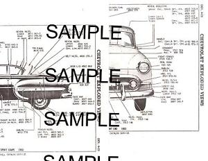 1955 CHEVROLET BEL AIR 210 55 BODY PANEL DIAGRAMS PARTS ...