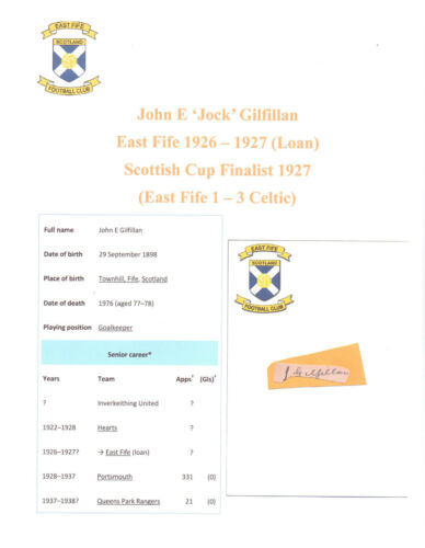 JOCK GILFILLAN EAST FIFE 19261927 SCOTT CUP FINAL 1927 RARE HAND SIGNED CUTTING