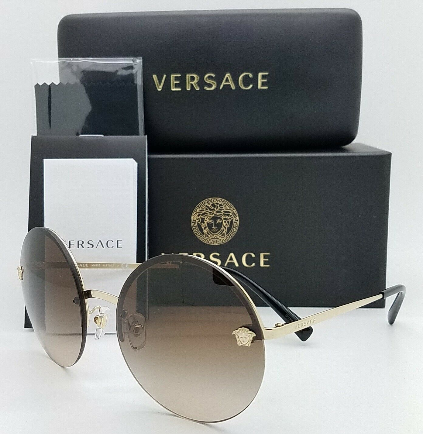 NEW Versace sunglasses VE2176 125213 59mm Gold Brown Gradient AUTHENTIC Round