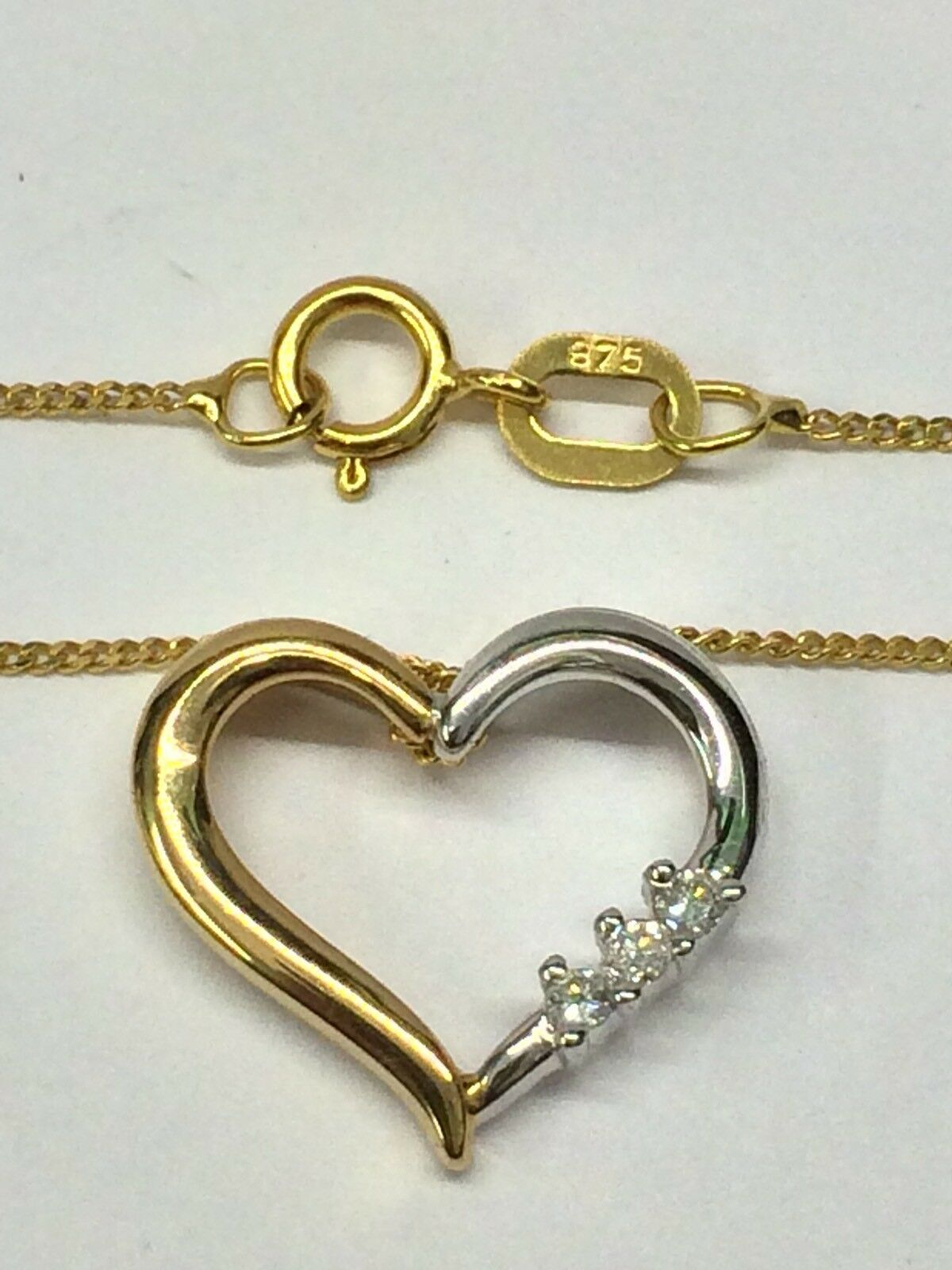 9ct Yellow & White gold 3 Diamond Set Heart Pendant And Curb Link Chain