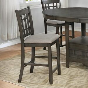 Image Is Loading Traditional Style Counter Height Dining Chairs Uph Seat