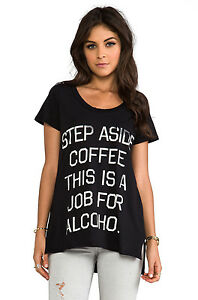 Rebel-Yell-step-aside-coffee-this-is-job-for-pocket-black-T-shirt-Size-S-New