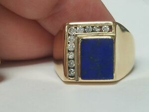 2b708a51e6567 Details about Mens Lapis Lazuli and Diamond 14k Yellow Gold Ring
