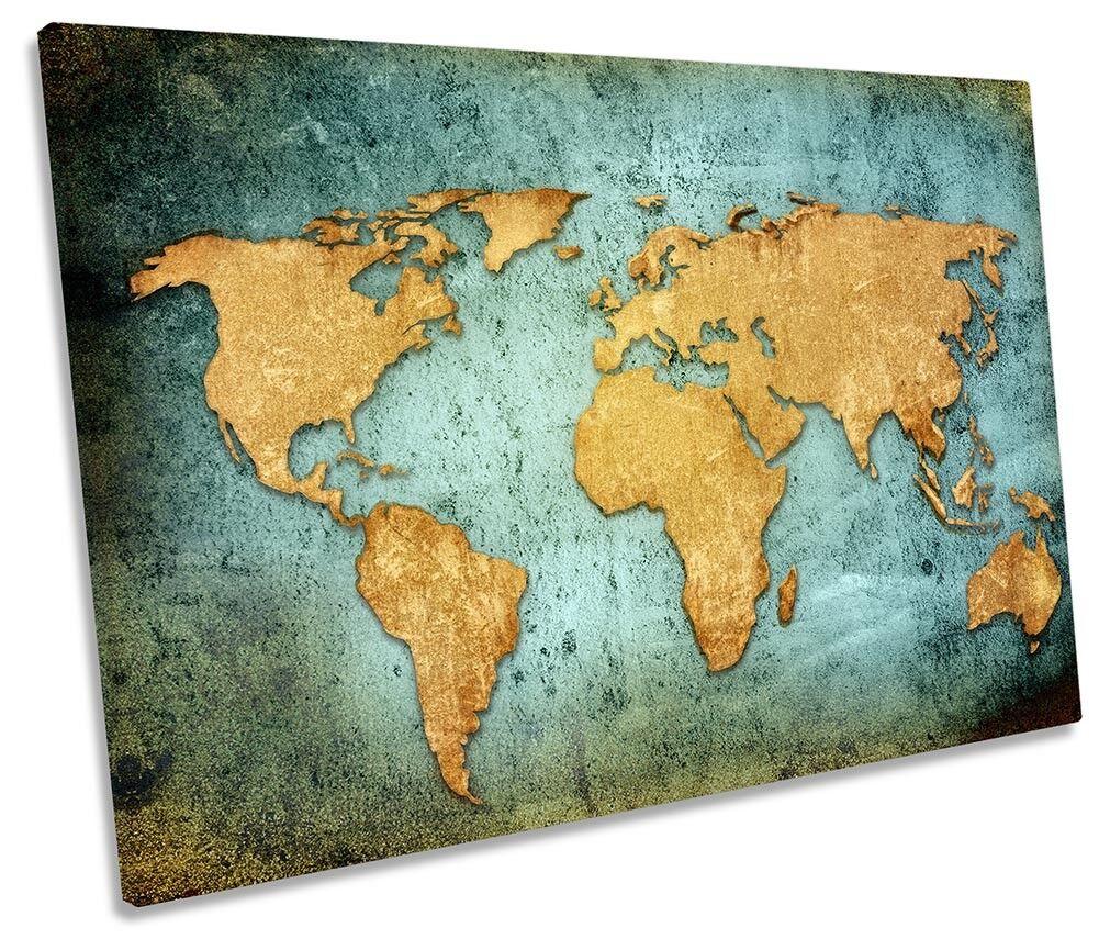 World Map Grunge Framed SINGLE CANVAS Drucken Wand Kunst
