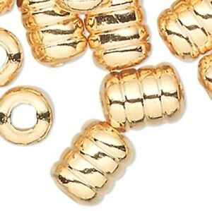 Lot of 100 Shiny Gold Plated Brass Corrugated Round Spacer Beads Small Big