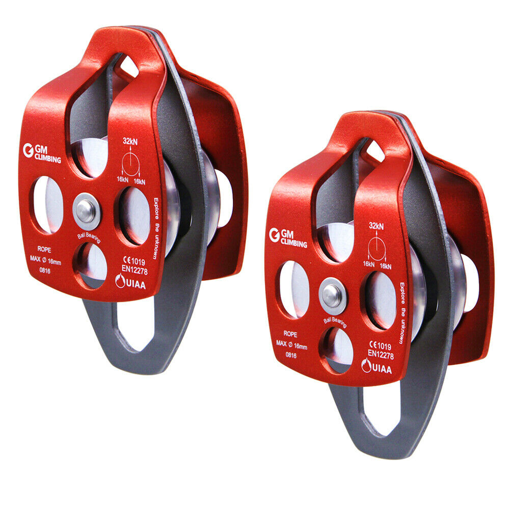 2Pcs Double Sheaves Pulley 32kN for Climbing Arborist Hauling Rigging By CE UIAA