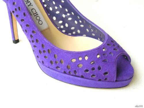 ff4b0d011a8f 4 of 6 new  695 JIMMY CHOO laser cut purple suede open-toe slingbacks shoes  34 4 -